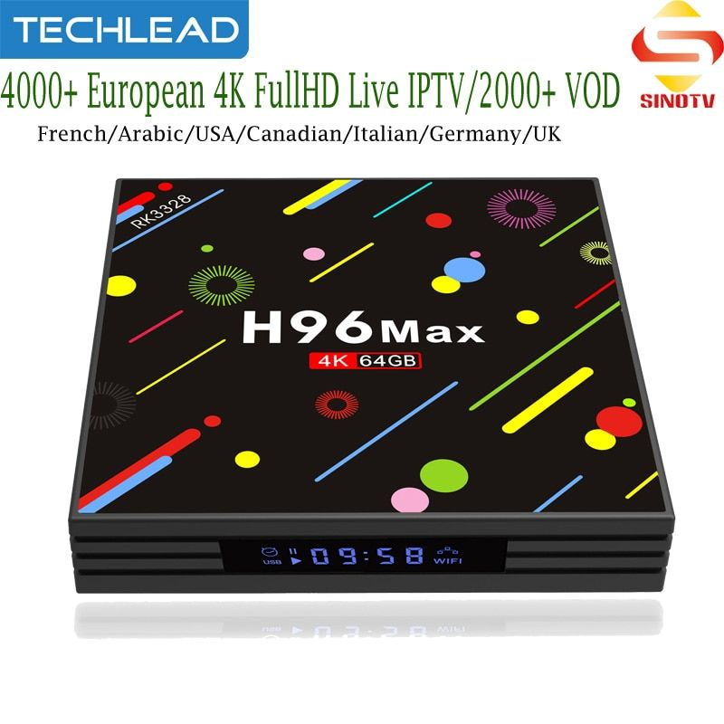 H96 Max Android TV Box With Sinotv Canadian French USA Germany