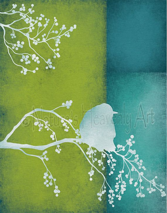 Bird on Branch Lime Green Wall Art Print, Turquoise Blue ...