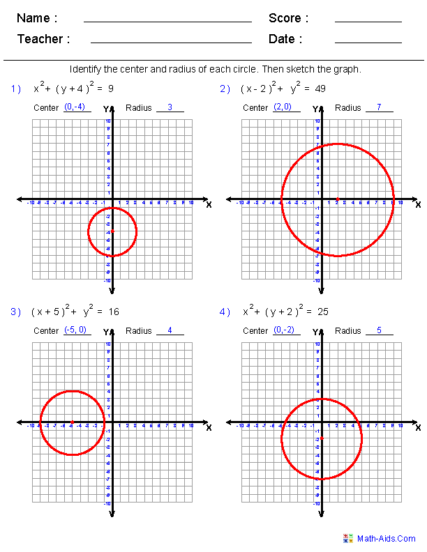 107 write and graph equations of circles worksheet – streamclean.info