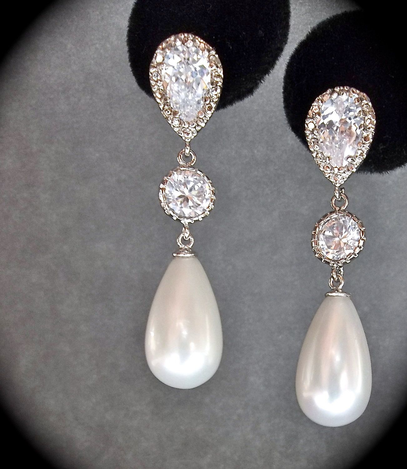 Bridal Jewelry  Sterling Silver  Long  Pearl Drop Earrings  Pearl  Earrings  Brides
