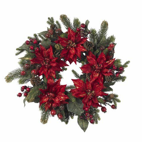 Wholesale 24 Inch Poinsettia and Berry Wreath Decor Wreaths * Visit - wholesale christmas decor