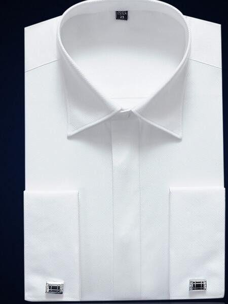 TRENDY XU Mens Long-Sleeve Oxford Shirt Solid Spread Collar Dress Shirt