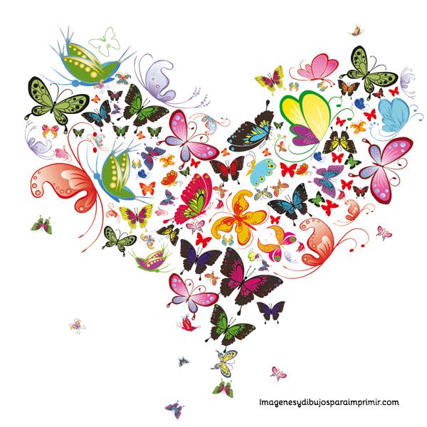 Corazon de mariposas para imprimir  Dibujos varios muy bonitos
