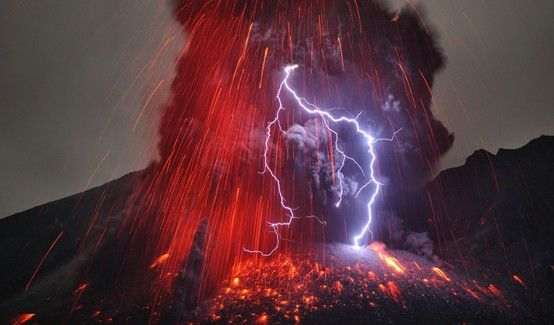 Lightning and lava can be seen together in this stunning photo of a volcano in the Kaghoshima area of South Japan. These flows are currents of hot gas and rock that reach temperatures of 1,000C and travel up to 500mph.