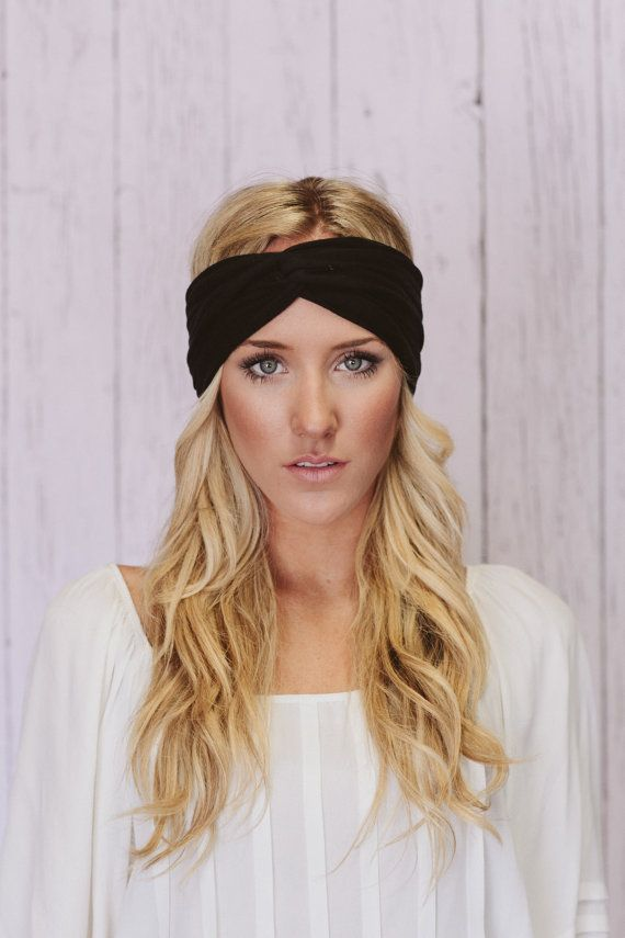 Turban Headband Women s Jersey Turband Twist Hair Band Headband Head Wrap  with Twisted Center for Women and Girls in Black (HB-156) 890a0d9bd03