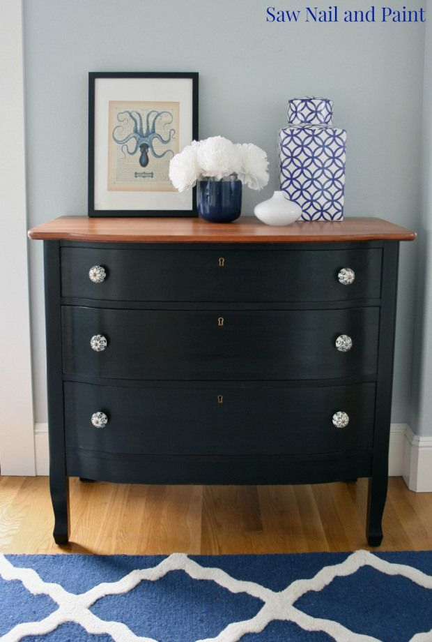 Curvy Black Painted Dresser Saw Nail Paint