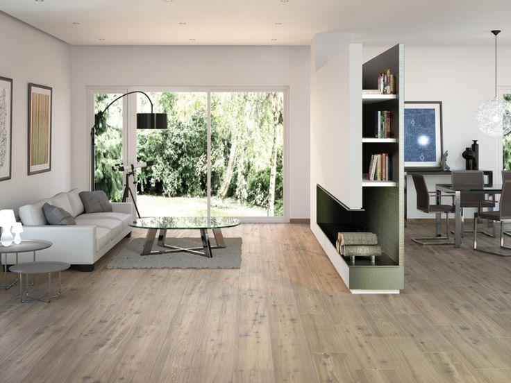 Schon Moderne Fliesen Holz Optik Wohnzimmer Wohnwand Trennwand Idee #fliesen # Moderne #optik #trennwand #wohnwand #wohnzimmer