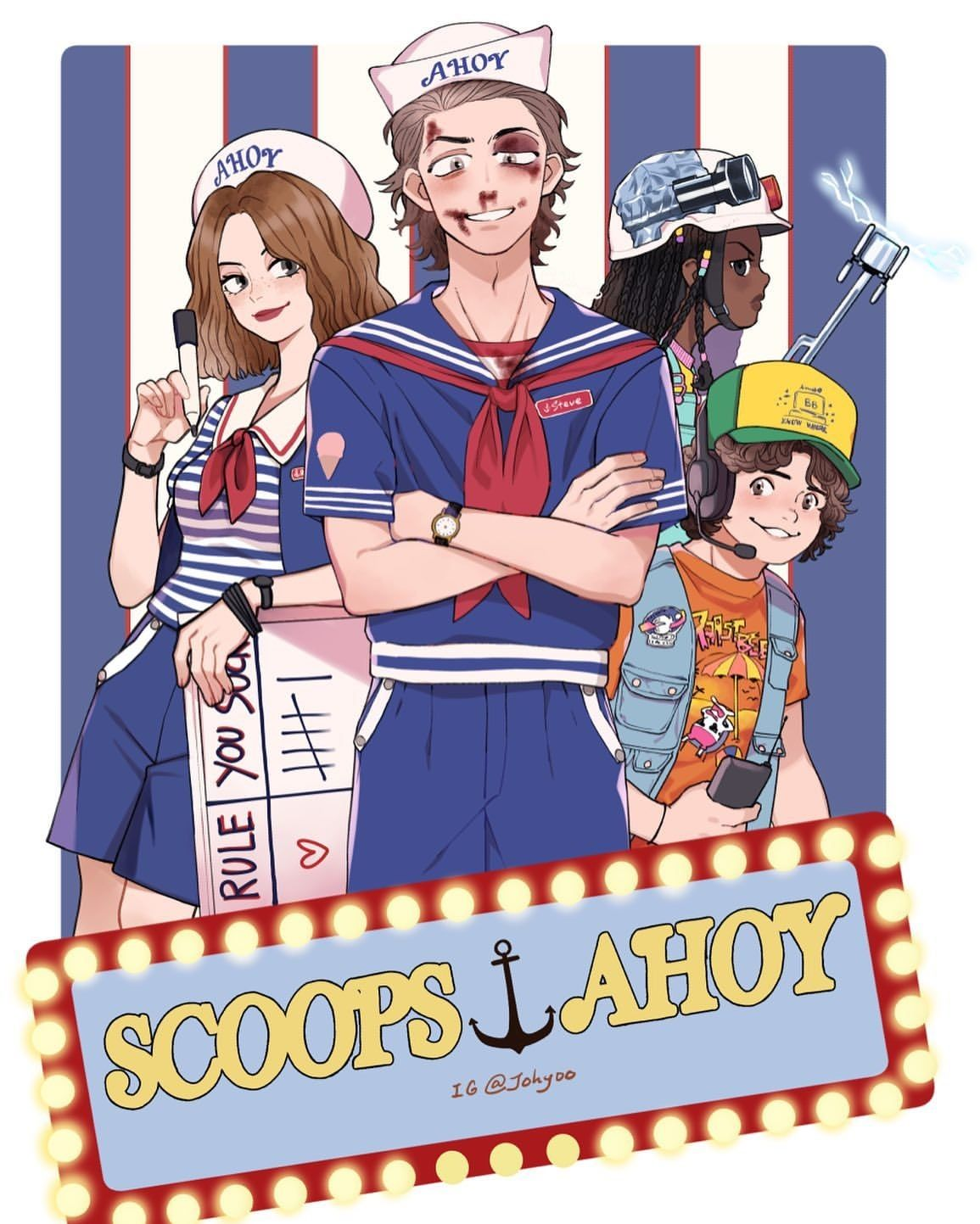Stranger Things Scoop Troop By Hope Johyoo Robin Steve Dustin Scoops Ahoy Ice Cream Seas Stranger Things Fanart Stranger Things Funny Stranger Things Art