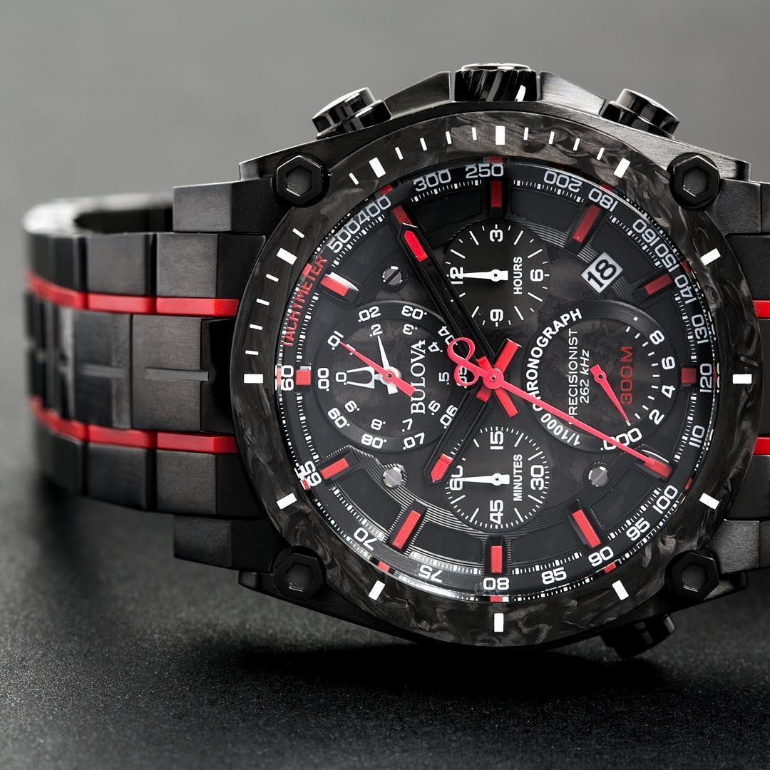 71769a339 Precise timekeeping with an updated look.⌚Black men's Bulova precisionist  watch with red trim