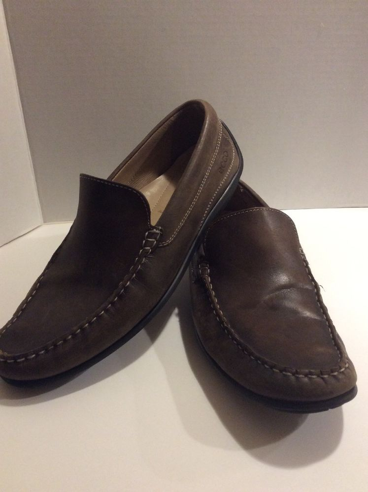 ECCO Shoes Slip On BROWN Leather Casual Shoe Men's Size 45