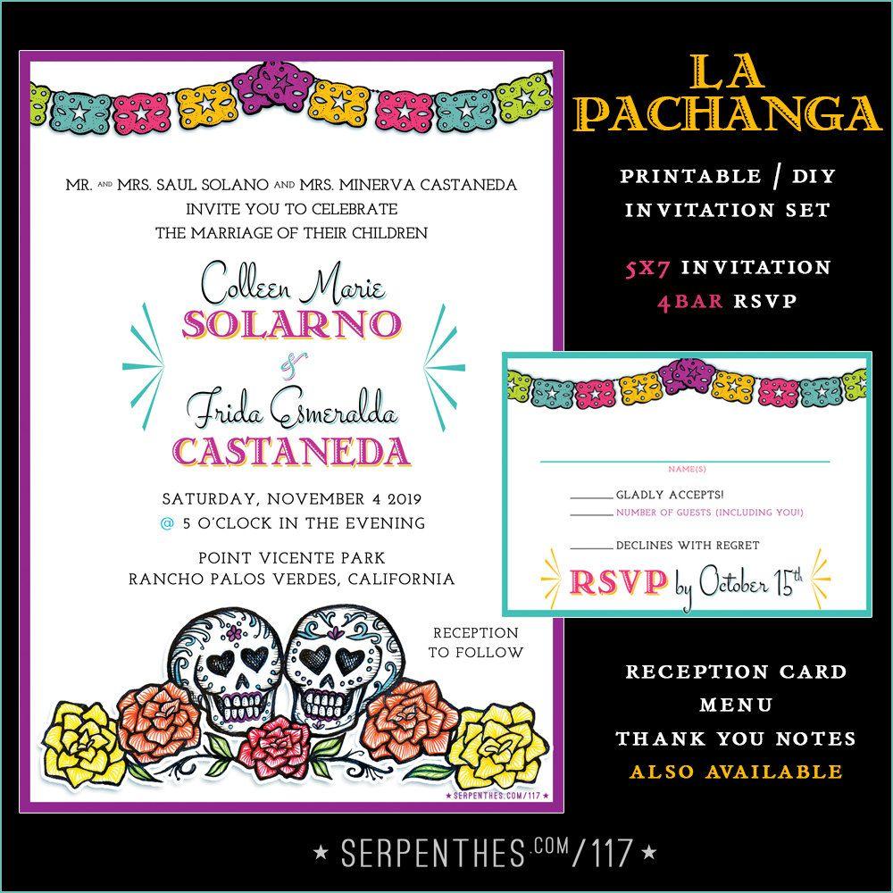 La Pachanga Sugar Skull Wedding Invitation Printable Digital