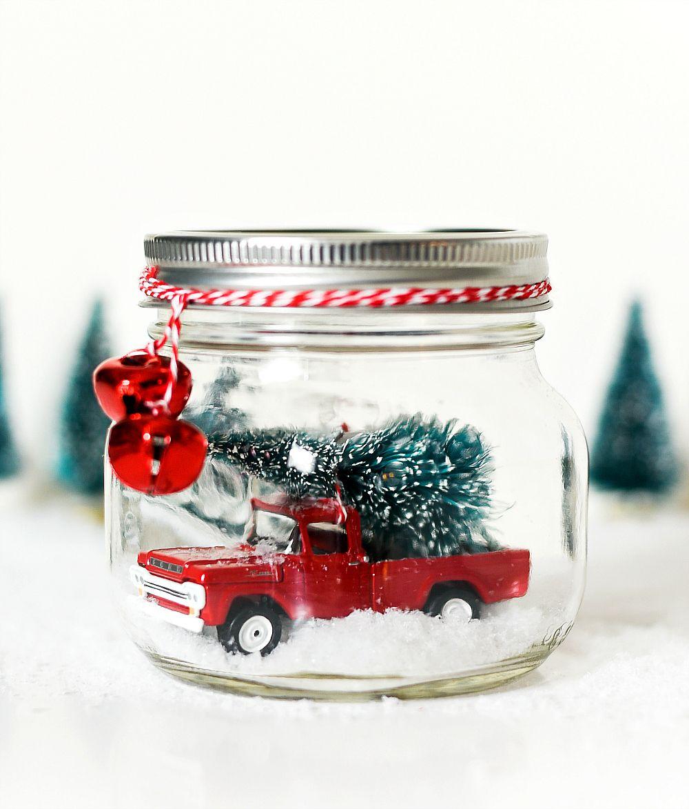 Vintage Truck In Mason Jar Snow Globe It All Started With Paint Mason Jar Christmas Decorations Christmas Jars Christmas Mason Jars