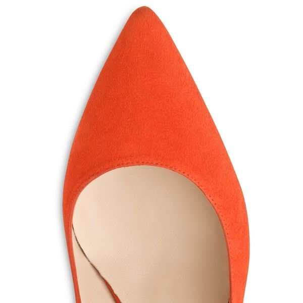 L.K. Bennett Florita Slingback Court Shoes , Orange Suede ($245) ❤ liked on Polyvore featuring shoes, pumps, slingback pumps, orange shoes, blue suede shoes, women shoes and low heel pumps
