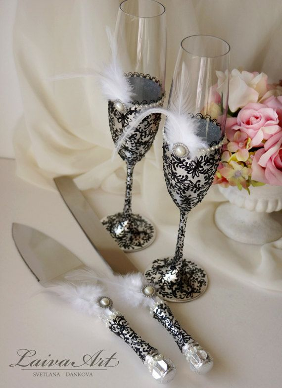 Bodas de plata Champaña flautas estilo de Gatsby de por LaivaArt