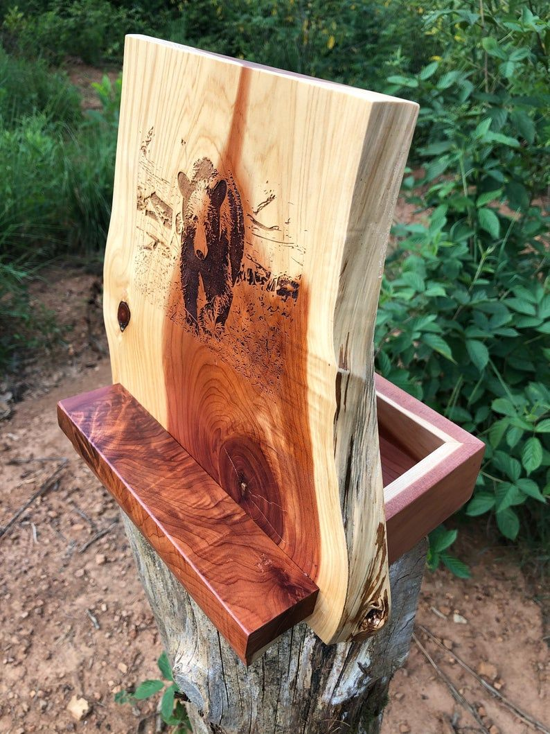 Live Edge Cedar Tablet Stand With Attached Display Box Smokey Etsy Art Easel Display Boxes Tablet Stand