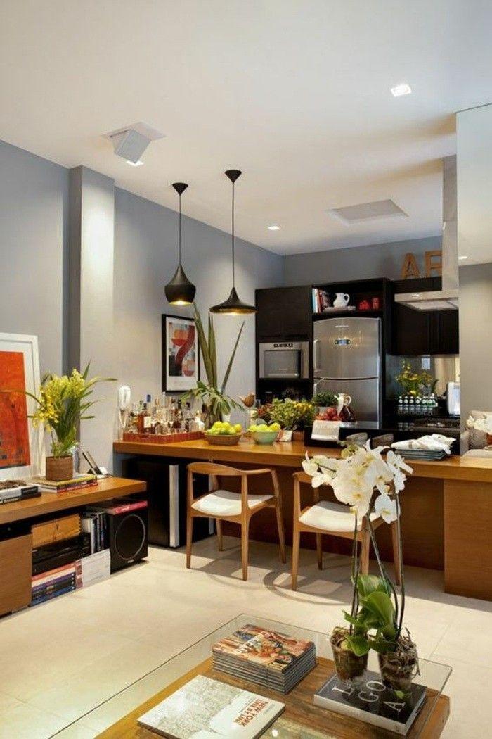 wohnideen küche bilder lampen blumen stühle kühlschrank ofen - lampen für die küche