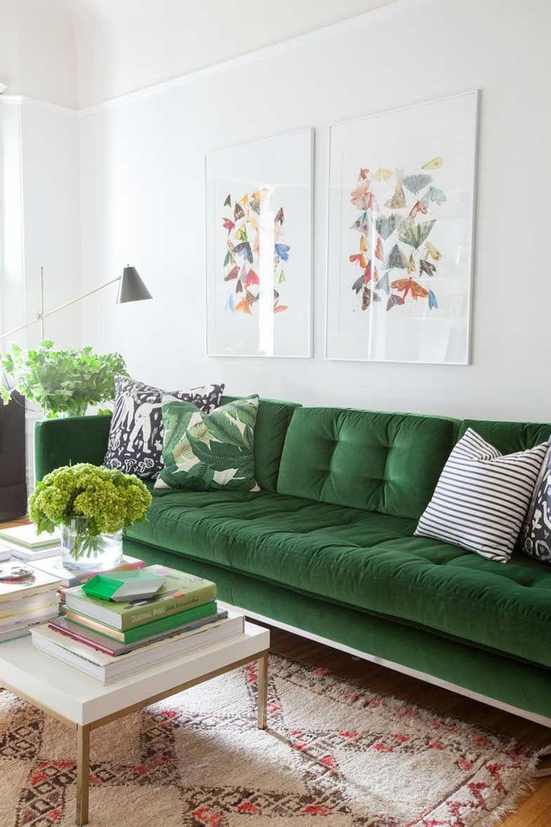 Sofá en verde   Virginia Road   Pinterest   Living rooms, Room decor ...
