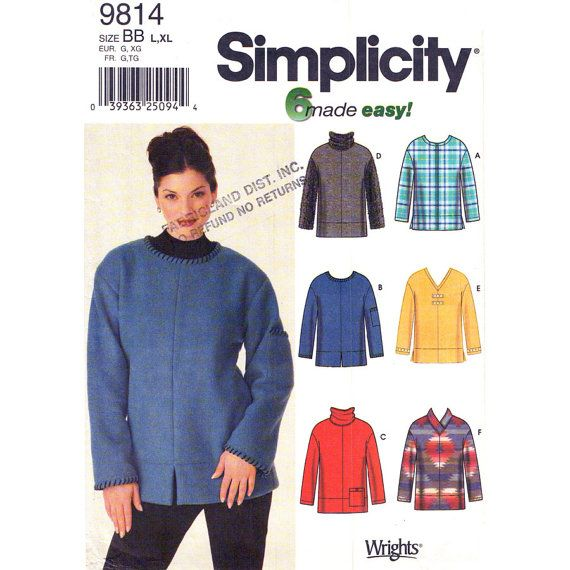 Womens Pullover Top Pattern Simplicity 9814 Casual Cowl Neck Top ...