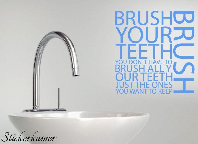 Muursticker tekst badkamer. Brush your teeth muursticker regels ...