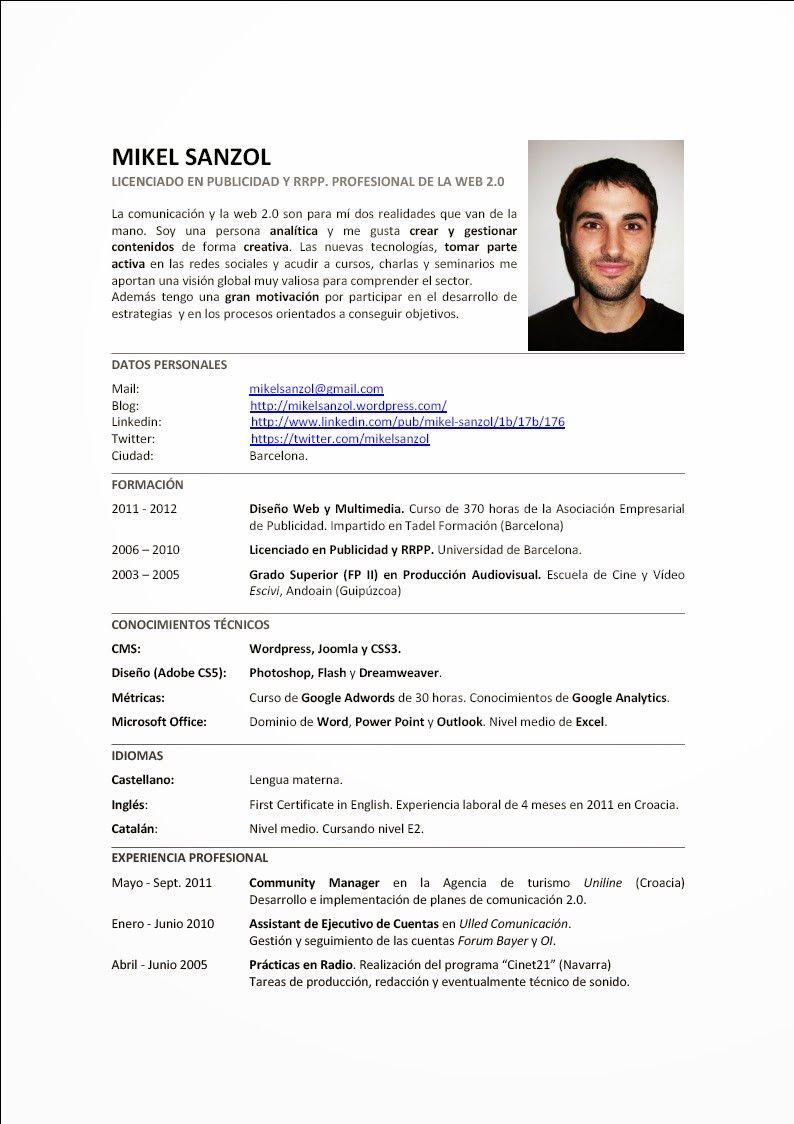 Curriculum Vitae Ejemplo Con Imagenes Modelos De Curriculum