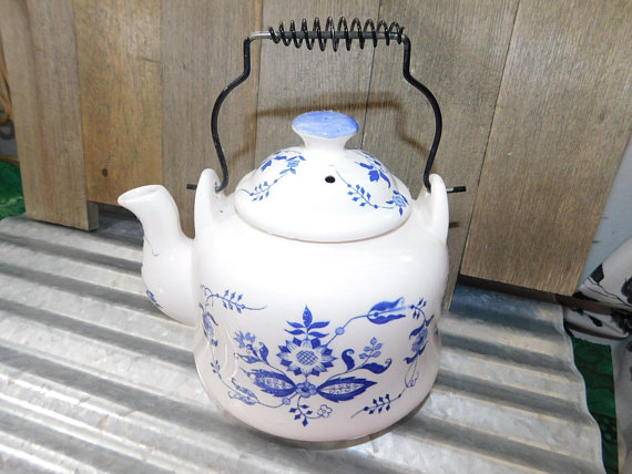 Vintage Blue And White Tea Pot Wire Handle Teapot Kitchen Dutch English Country Charm Shabby Cottage Chic Shc Tea Pots Shabby Chic Cottage Shabby Cottage