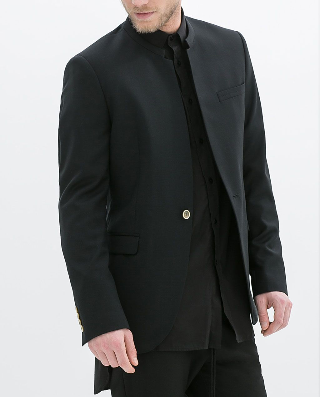 blazer col mao de zara black clothes men pinterest col mao cols et vestes. Black Bedroom Furniture Sets. Home Design Ideas