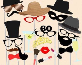 60th Birthday Photobooth Party Props, Printable Photobooth Props, 60th Party Props, Sixty birthday Party Photo Booth Props, download