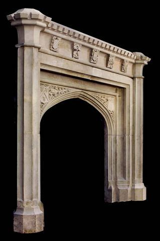 Antique limestone gothic fireplace mantel new york - Interior specialists inc reno nv ...