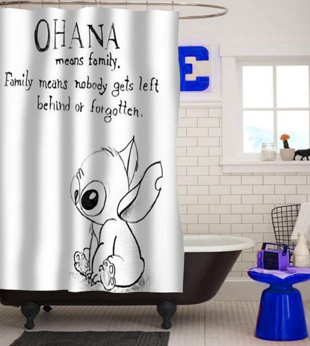 Lilo Series Ohana Lilo And Stitch Custom Shower Curtain Custom Shower Curtains Disney Home Decor Disney Shower Curtain