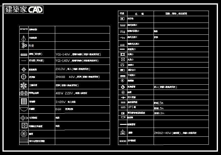 ★建築師CAD 建築設計 室內設計 標準工程圖庫【水電工程圖塊】崁燈/鹵素燈/吸頂燈/日光燈/插座/空調符號/UPS ...