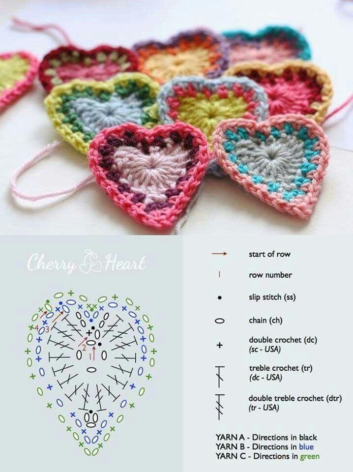 Aplique corazon   Cosas originales en crochet   Pinterest   Cosas ...