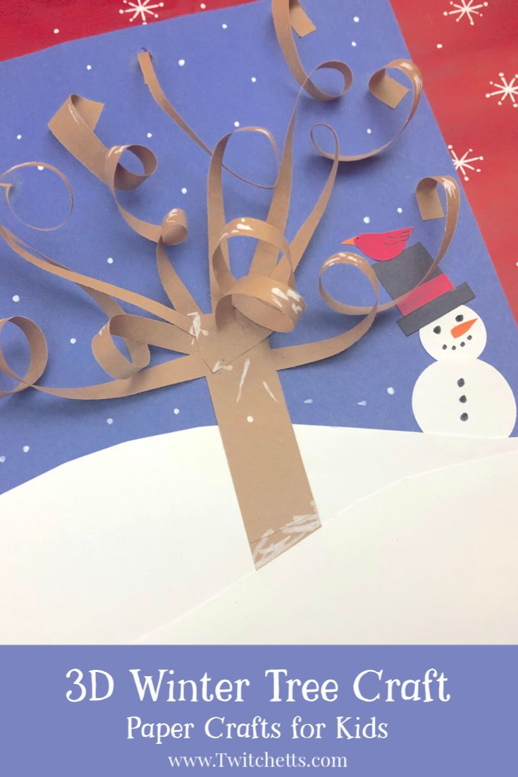 How to make a 3D winter tree craft with construction paper | Twitchetts | Basteln winter ...