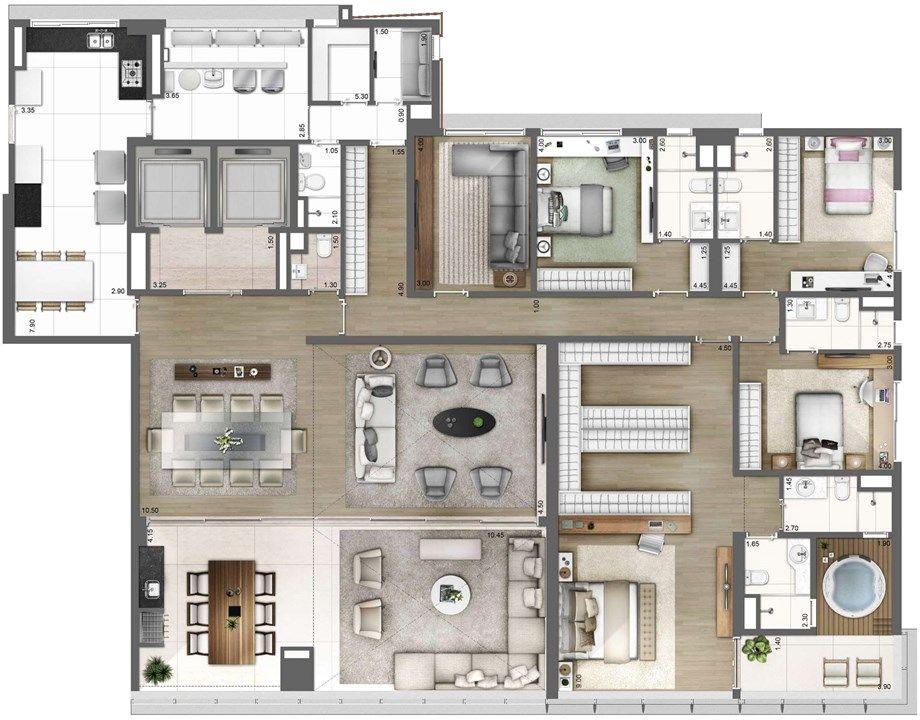 Planta Tipo Final 1 343m One Sixty Apartamento Na Regiao Da