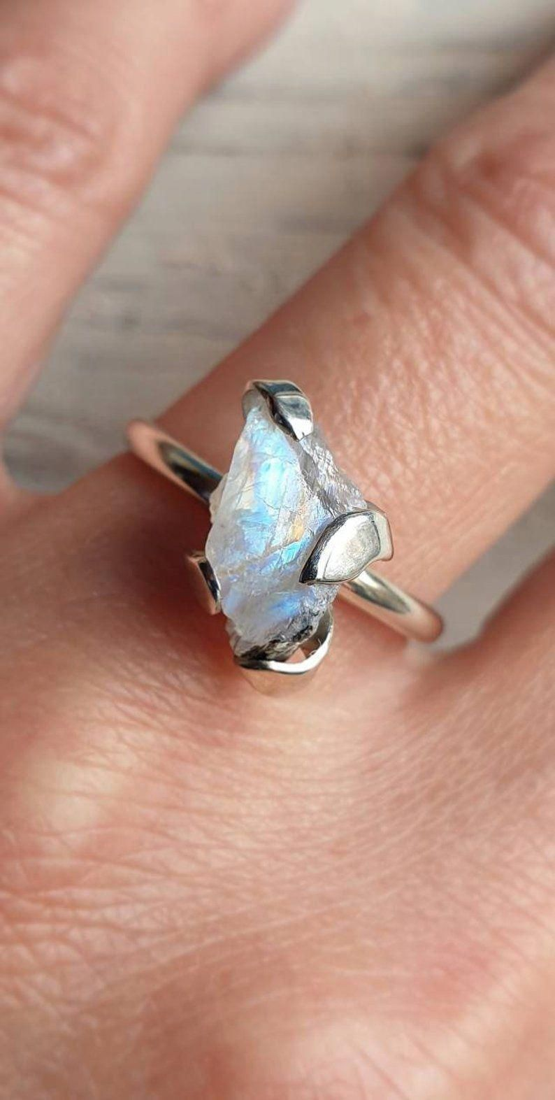 alternative engagement ring ring with raw stone raw jewelry silver ring art rings moonstone ring raw ring Raw silver ring fine ring