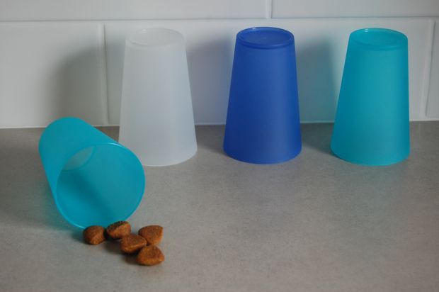 Hidden Cups - Dog Treat Game. Paved by Paw Prints.