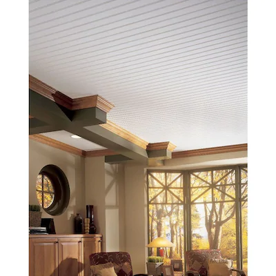 Armstrong Ceilings Common 84 In X 5 In Actual 84 In X 5 In Woodhaven 10 Pack Beadboard White Faux Wood Surface Mount Plank Ceiling Tiles Lowes Com In 2020 Armstrong Ceiling Plank Ceiling Beadboard Ceiling
