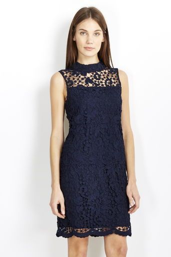 Navy High Neck Lace Dress #wallisfashion #SS16