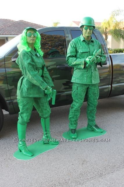 Green Army Soldiers Couple Costume Army soldier, Army and Costumes - creative couple halloween costume ideas