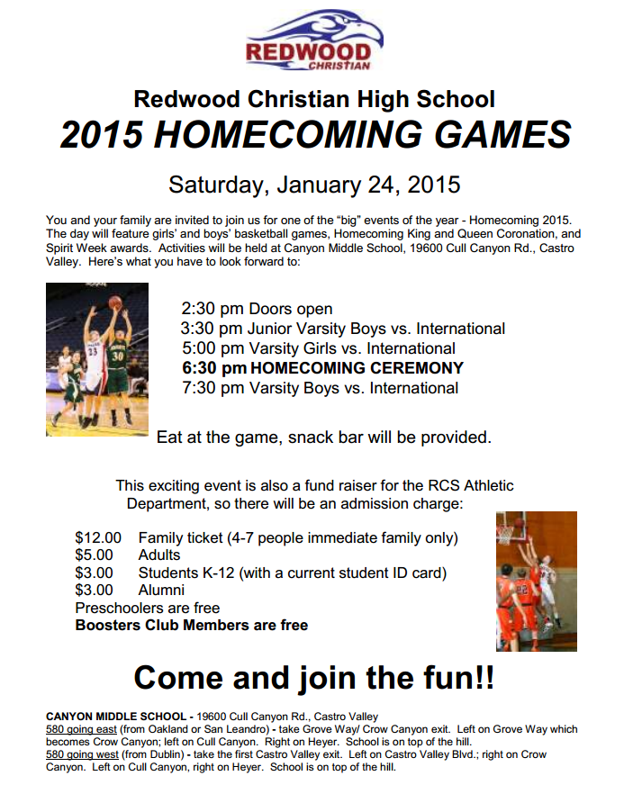 """You and your family are invited to join us for one of the """"big"""" events of the year - Homecoming 2015 at Canyon Middle School this Saturday, Jan 24th! Doors open at 2:30p.   Contact us for more info: http://www.rcs.edu/contacts/ #homecoming2015 #basketball"""