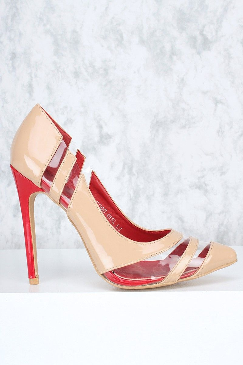 72e1f548761 Nude Clear Cut Out Straps Pointy Toe Single Sole High Heels Faux ...