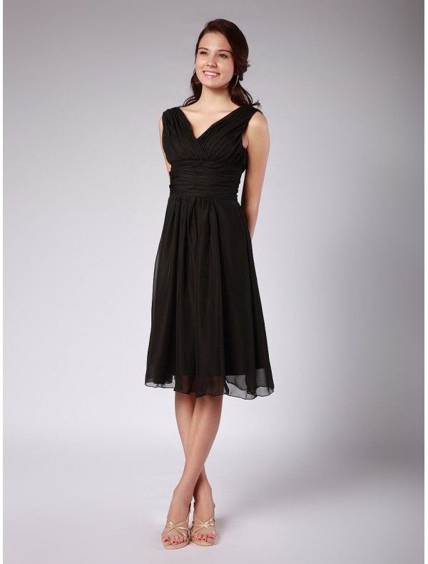 Chiffon V-Neckline A-Line Vintage Bridesmaid Dress with Rouched ...