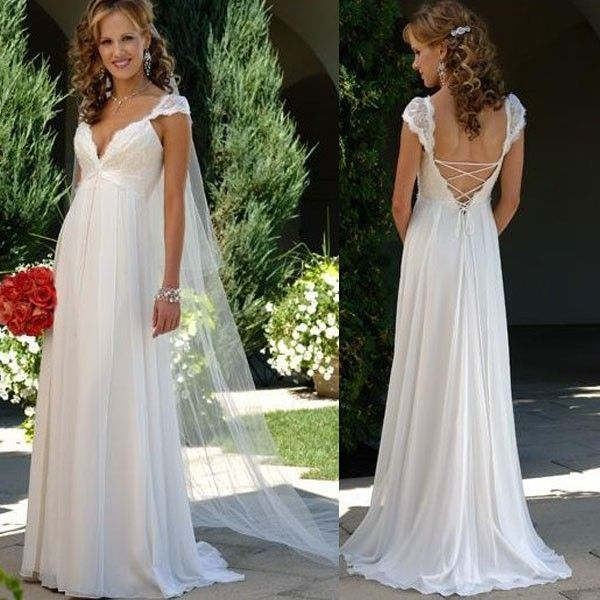 Affordable Maternity Wedding Gowns: Chiffon Lace Beach Bridal Gown Empire Maternity Wedding