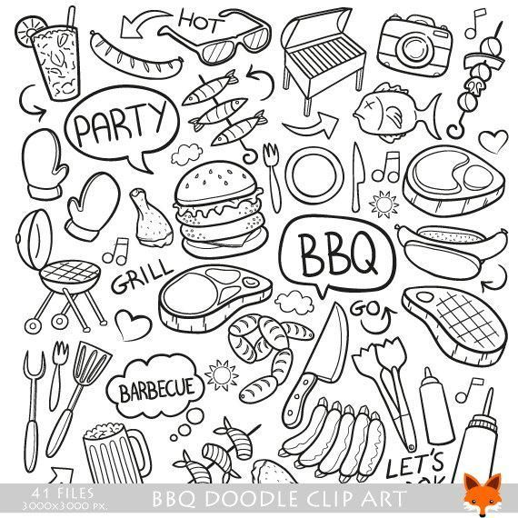 BBQ Barbecue Day Doodle Icons Clipart Scrapbook Set Hand