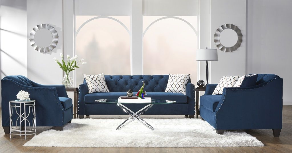 Bing Indigo Tufted Sofa And Loveseat Urban Furniture Outlet Color Palette Living Room Tufted Sofa High Ceiling Living Room #serta #living #room #furniture