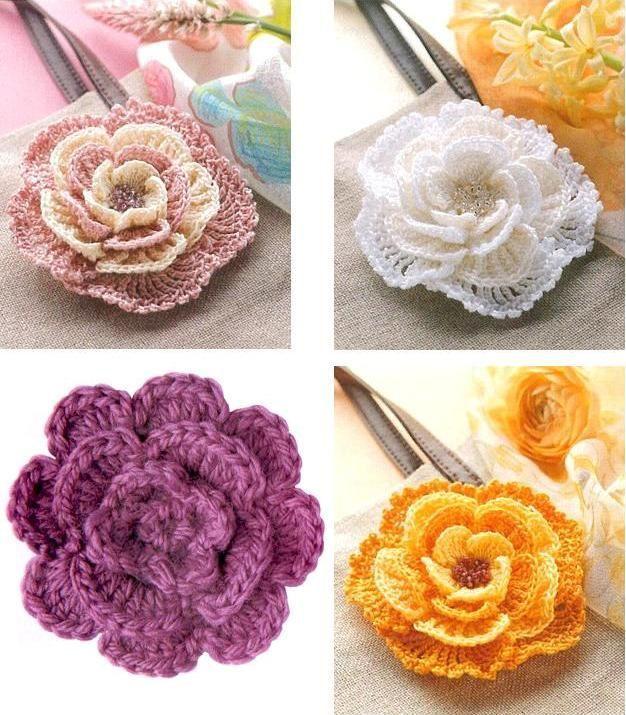 вязание крючком цветов бесплатно