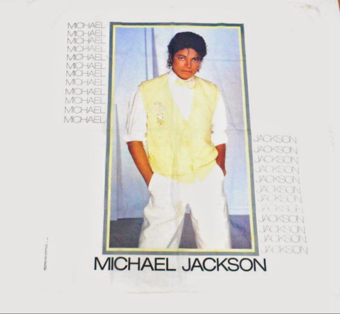 Vintage 80s Michael Jackson Big Cloth Poster Flag Banner By