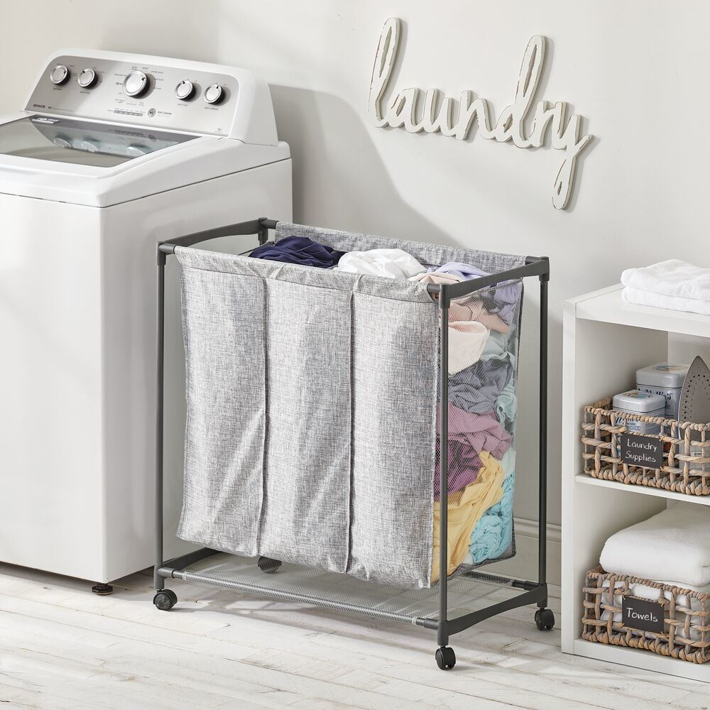 3 Compartment Rolling Fabric Laundry Basket Graphite In Gray