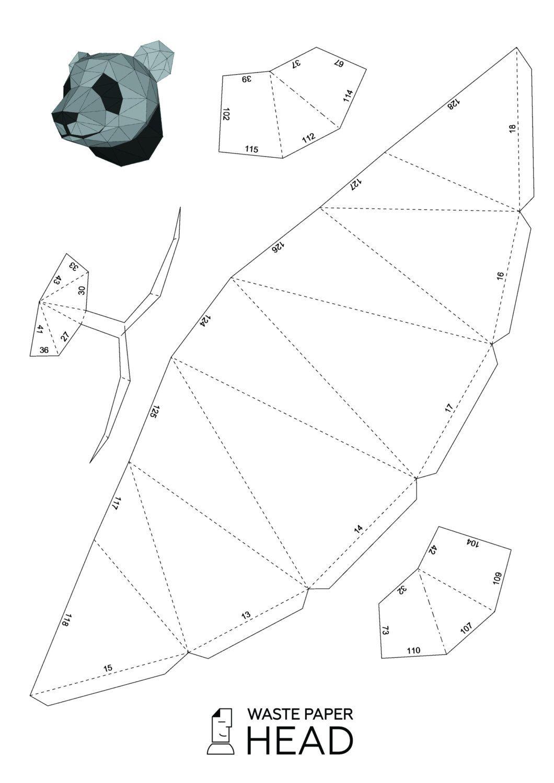 Papercraft panda head - printable digital DIY template | Mascaras ...