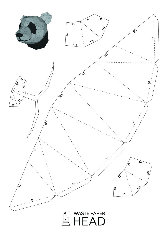 01 - papercraft panda head - printable digital template | Papercraft ...