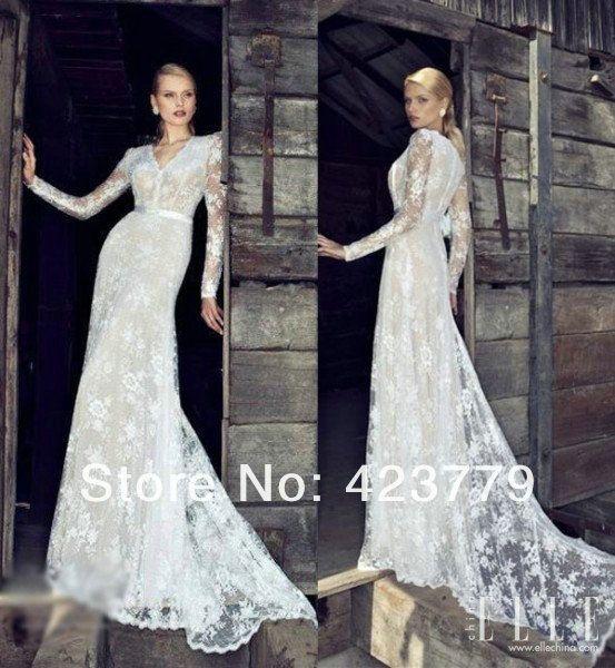 Vintage Lace Long Sleeve Wedding Dress A line V neck Oooooo good